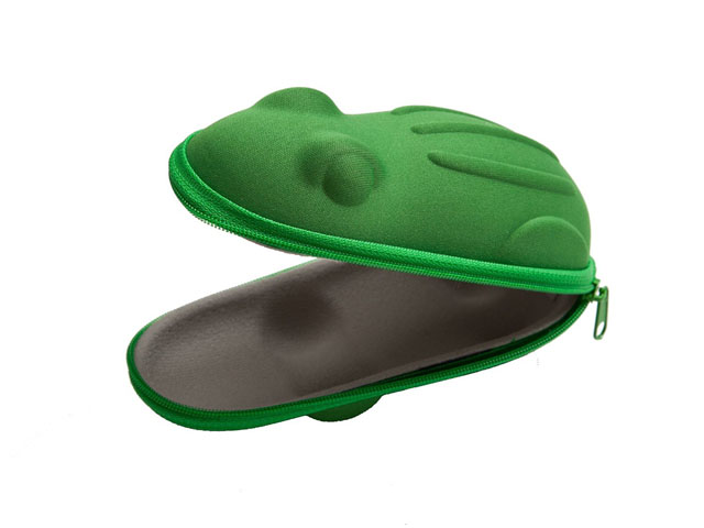 SUNPROOF Hard shell EVA swimming goggle case for kids cute green frog shaped with velvet lining same colored zipper