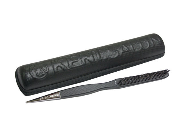 Hard EVA Curved Vent Styling Brush case leather coated large medium small size available embossed logo OEM service available