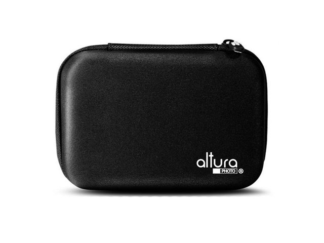 Small Altura Photo EVA electronics travel case with poly and leather fabric purple trimmer and mesh pocket inside